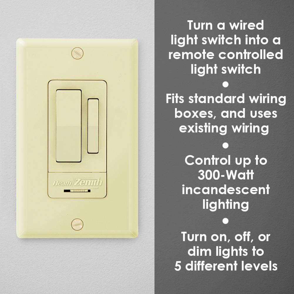 Heath Zenith Indoor 3 Way Wall Switch 2 Pack Ivory Lights Dim