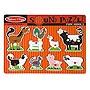 Melissa & Doug Farm Animals Sound Puzzle - Wooden Peg Puzzle With Sound Effects