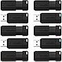 Verbatim 32GB PinStripe USB Flash Drive 10pk - Black - 32 GB - USB - 10Pack
