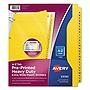 Avery Heavy-Duty Preprinted Plastic Tab Dividers 26-Tab A to Z 11 x 9 Yellow 1 Set 23081