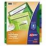 Avery Insertable Big Tab Plastic 2-Pocket Dividers 8-Tab 11.13 x 9.25 Assorted 1 Set 11907