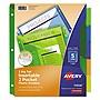 Avery Insertable Big Tab Plastic 2-Pocket Dividers 5-Tab 11.13 x 9.25 Assorted 1 Set 11906