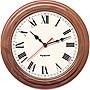 Pyramid TimeTrax Sync 16in Analog Clock Walnut Wood Roman Numeral Face S9A6AKGBXW
