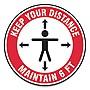 "Slip-Gard Social Distance Floor Signs 17"" Circle ""Keep Your Distance Maintain 6'"" 25pk"