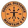 "Slip-Gard Social Distance Floor Signs 17"" Circle ""Social Distance Maintain 6'"" Orange 25pk"