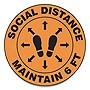 "Slip-Gard Social Distance Floor Signs 17"" Circle ""Social Distance Maintain 6'"" Footprint Orange 25pk"