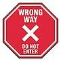 "Slip-Gard Social Distance Floor Signs 12x12 ""Wrong Way Do Not Enter"" Red 25pk"