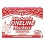 Washable Fineline Markers Fine Bullet Tip Assorted Colors 40/Set 0134448