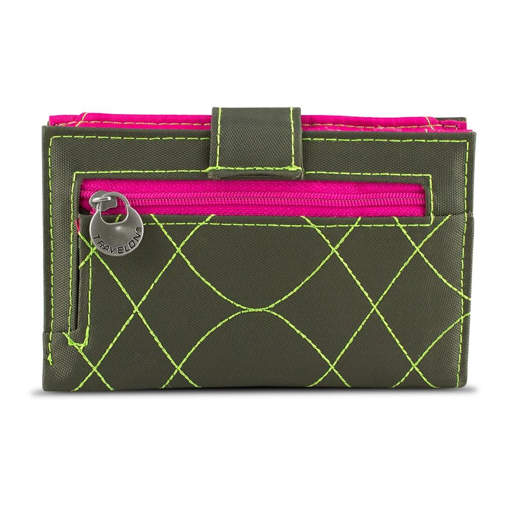 Travelon SafeID Embroidered Tri-Fold RFID Wallet - Olive/Ber